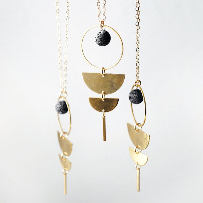 PHASES ◖Brass Aromatherapy Lava Necklace [G] - Lava Essential Oils