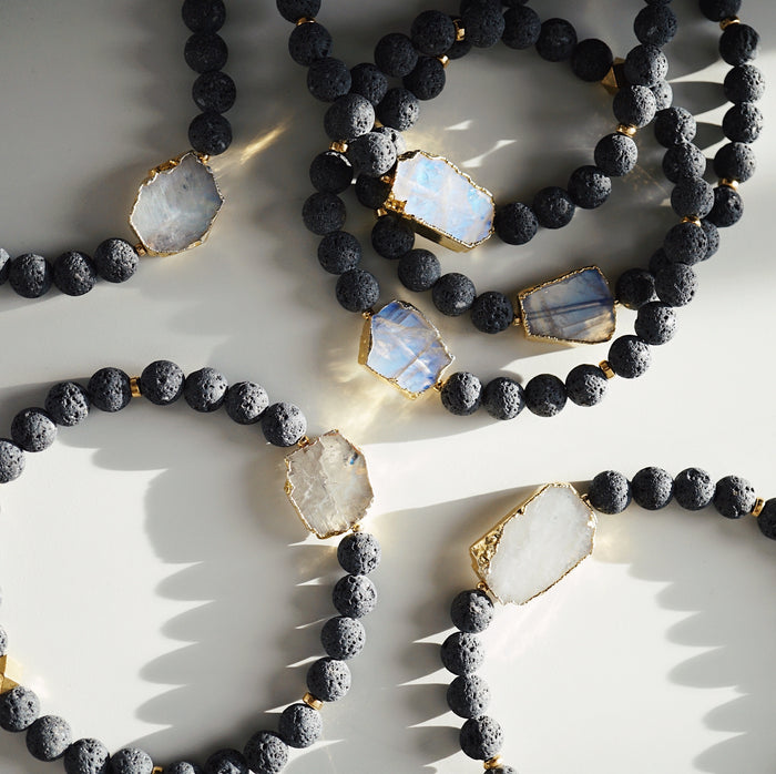 Gold Electroplated Rainbow Moonstone + Lava Aromatherapy Stretch Bracelet - Lava Essential Oils