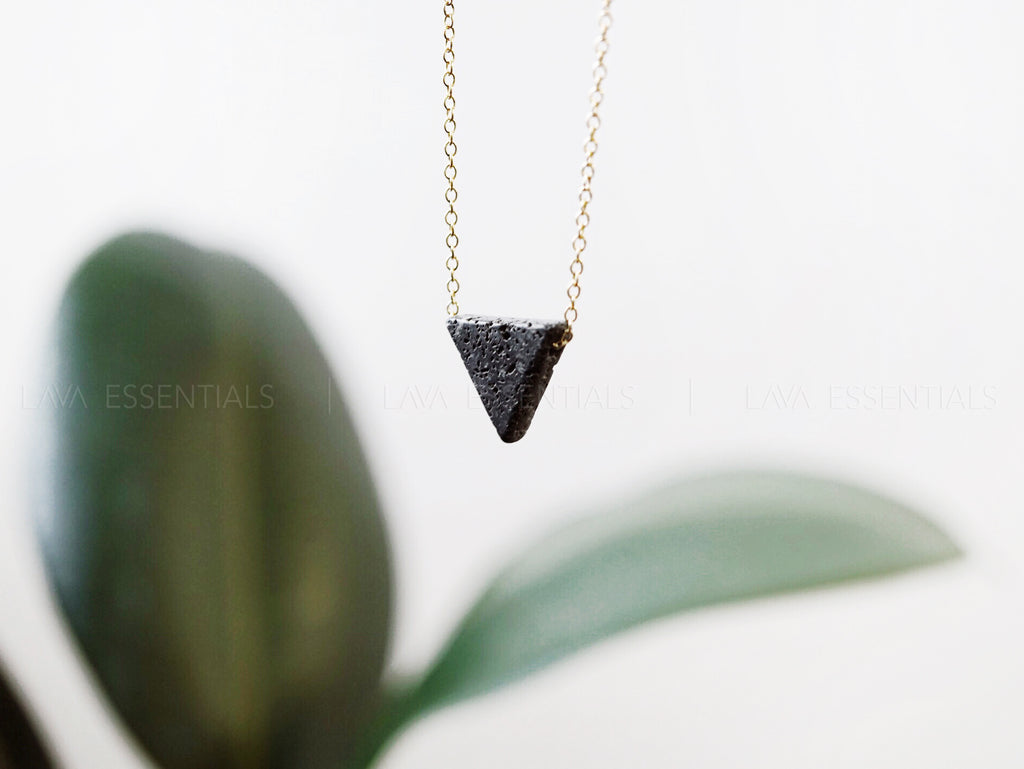 The Original Minimalist Lava Triangle Essential Oil Diffuser Necklace [G]+[S]+[RG] - Lava Essential Oils