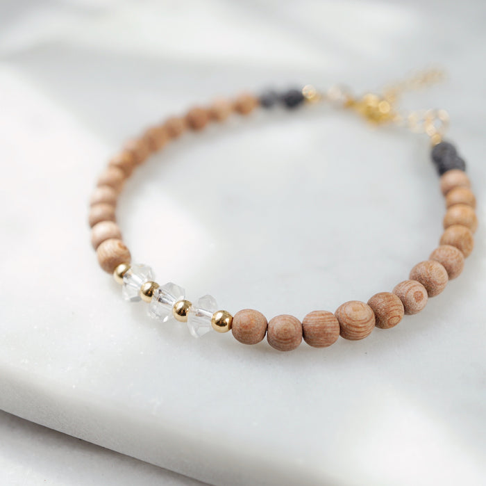 LUX Dainty Lava Bracelet ▾ Rosewood, Crystal - ONE OF A KIND - Lava Essential Oils