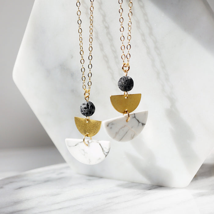 HALF MOON COLLECTION ◖Howlite Aromatherapy Lava Necklace [G] - Lava Essential Oils