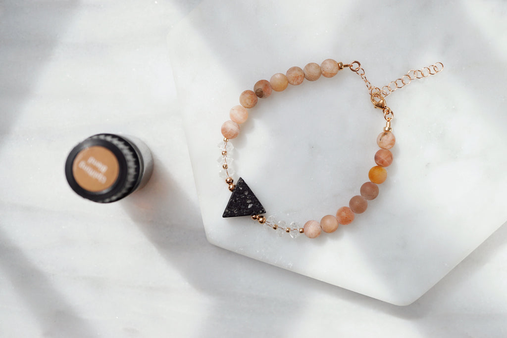 LUX Dainty Lava Bracelet ▾ Sunstone, Crystal, Lava Triangle - ONE OF A KIND - Lava Essential Oils