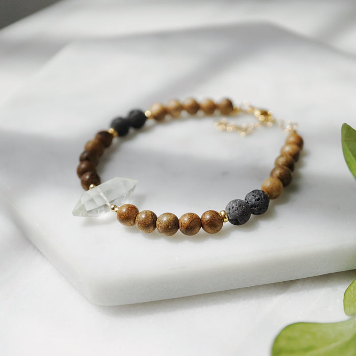 Petite Aromatic Sandalwood + Crystal Point + Lava Bracelet [G] - Lava Essential Oils