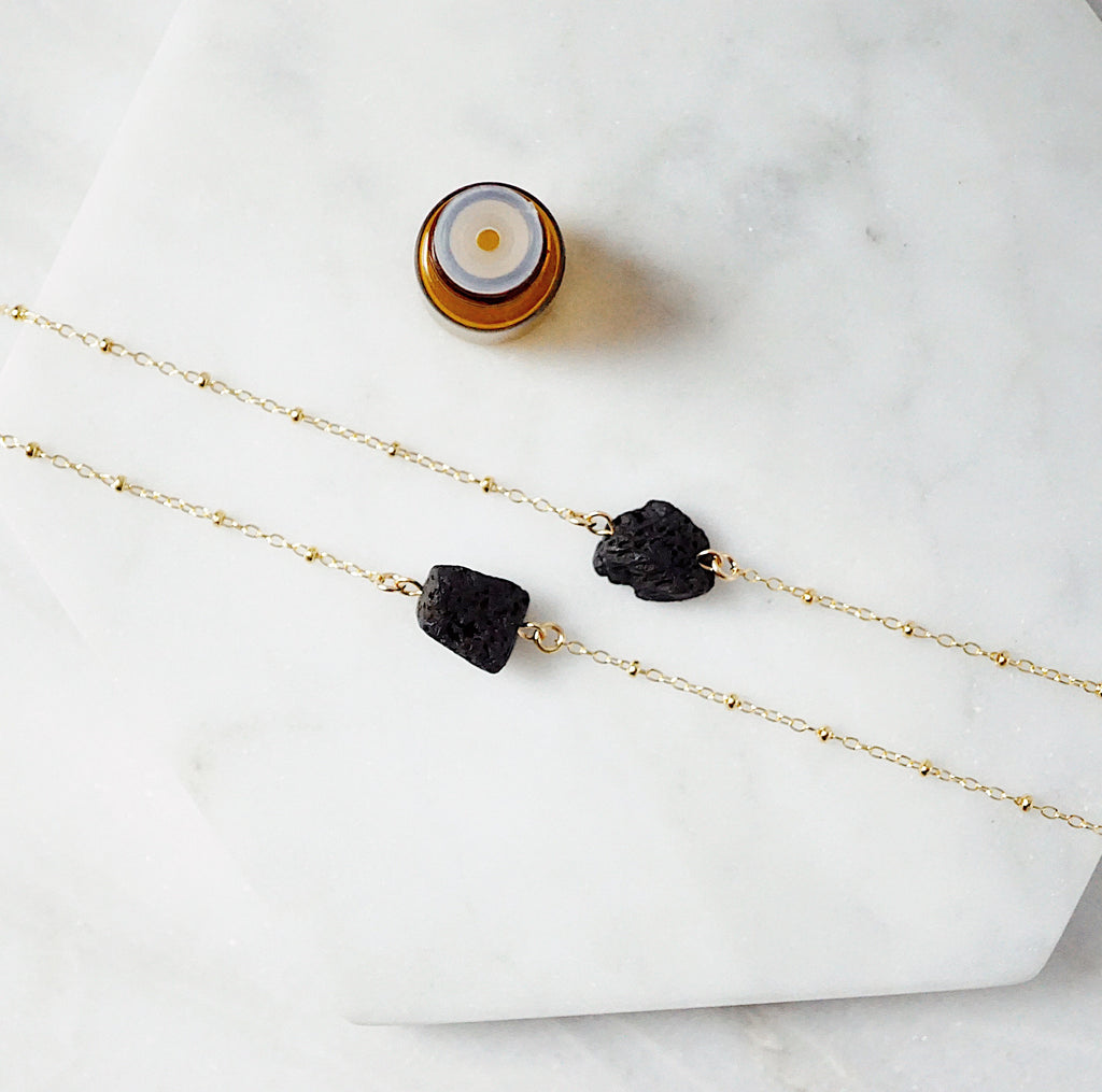 Dainty Lava Nugget Aromatherapy Necklace - LMTD Edition - Lava Essential Oils