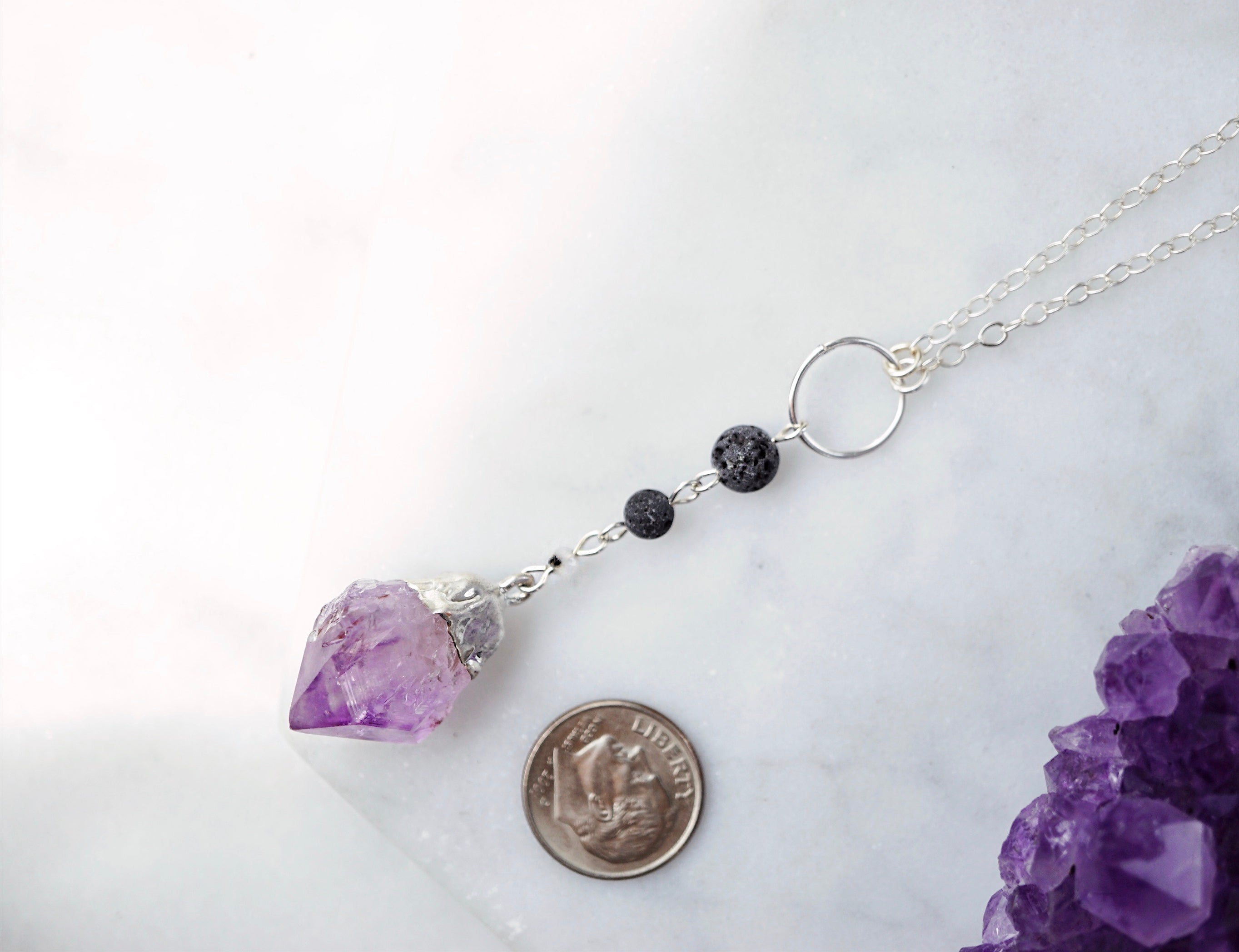Amethyst Silver Lava Aromatherapy Necklace - ONE OF A KIND - Lava Essential Oils