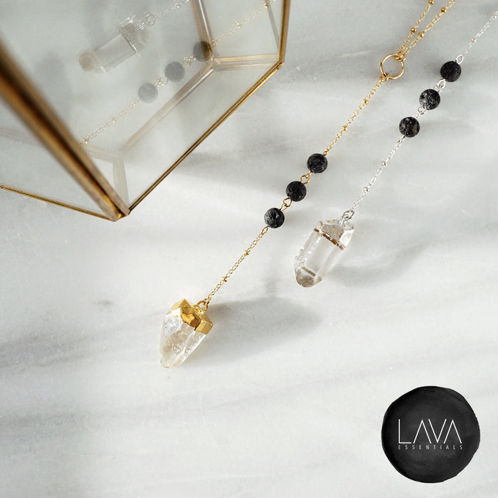 Dainty Quartz Crystal & Lava Bead Gold or Silver Necklace - Lava Essential Oils