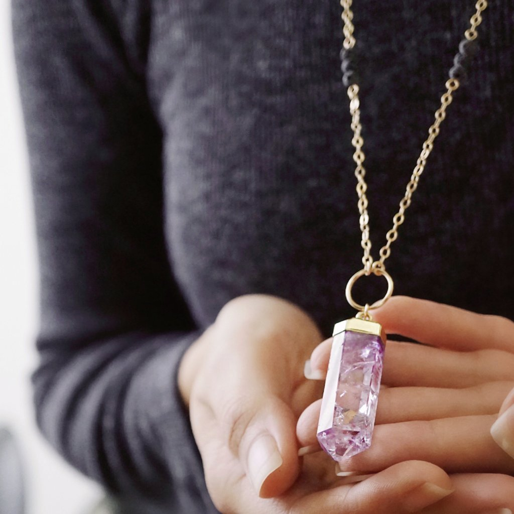 SECONDS SALE - Crystal Point Aromatherapy Necklace - Citrine, Amethyst, Rose Quartz - Lava Essential Oils