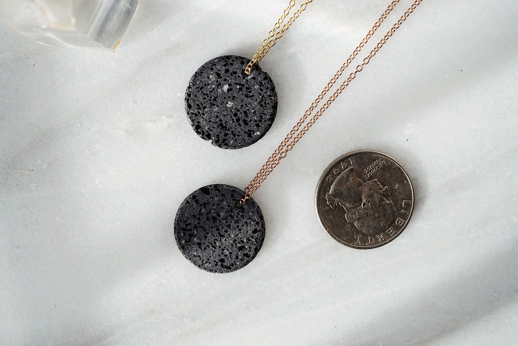 Eclipse • Natural Lava Coin Minimal Necklace [G]+[S]+[RG] - Lava Essential Oils