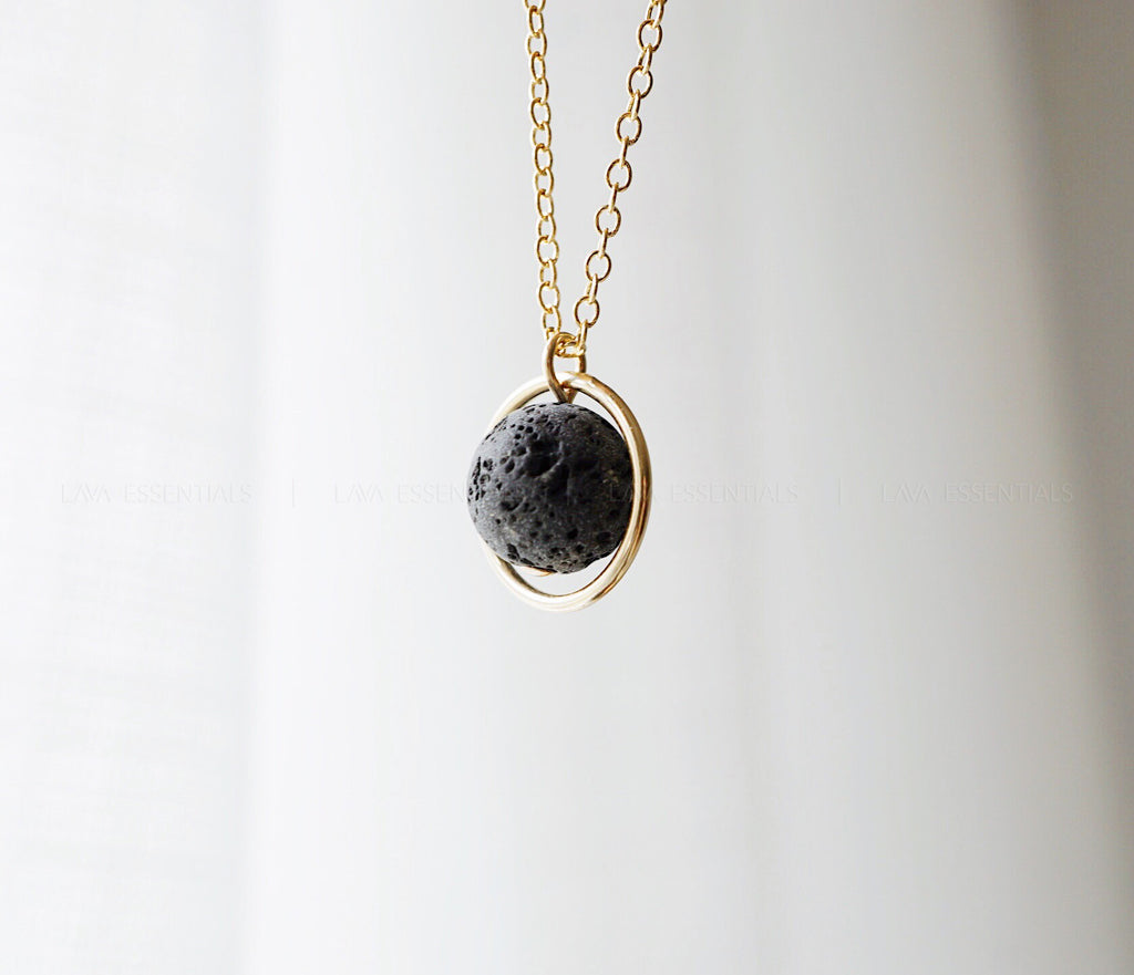 Eternal Moon Lava Essential Oil Necklace - MULTIPLE CHAIN OPTIONS - Lava Essential Oils