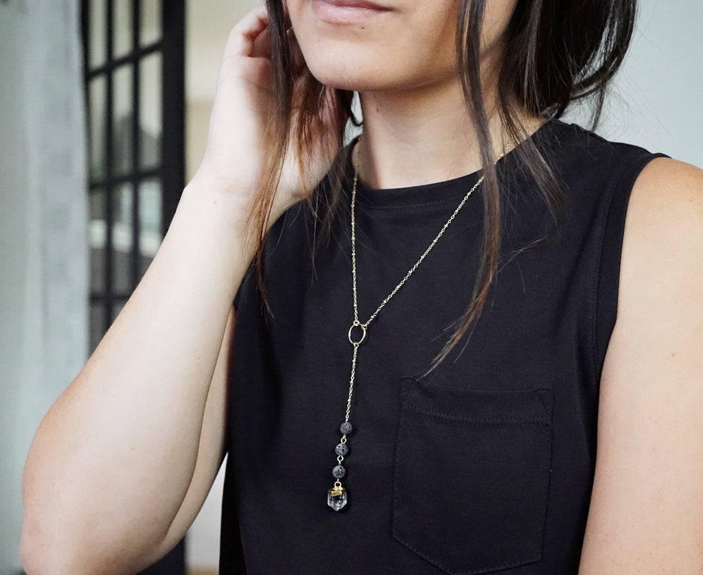 Dainty Light Smoky Crystal & Lava Bead Gold Necklace [G] - Lava Essential Oils