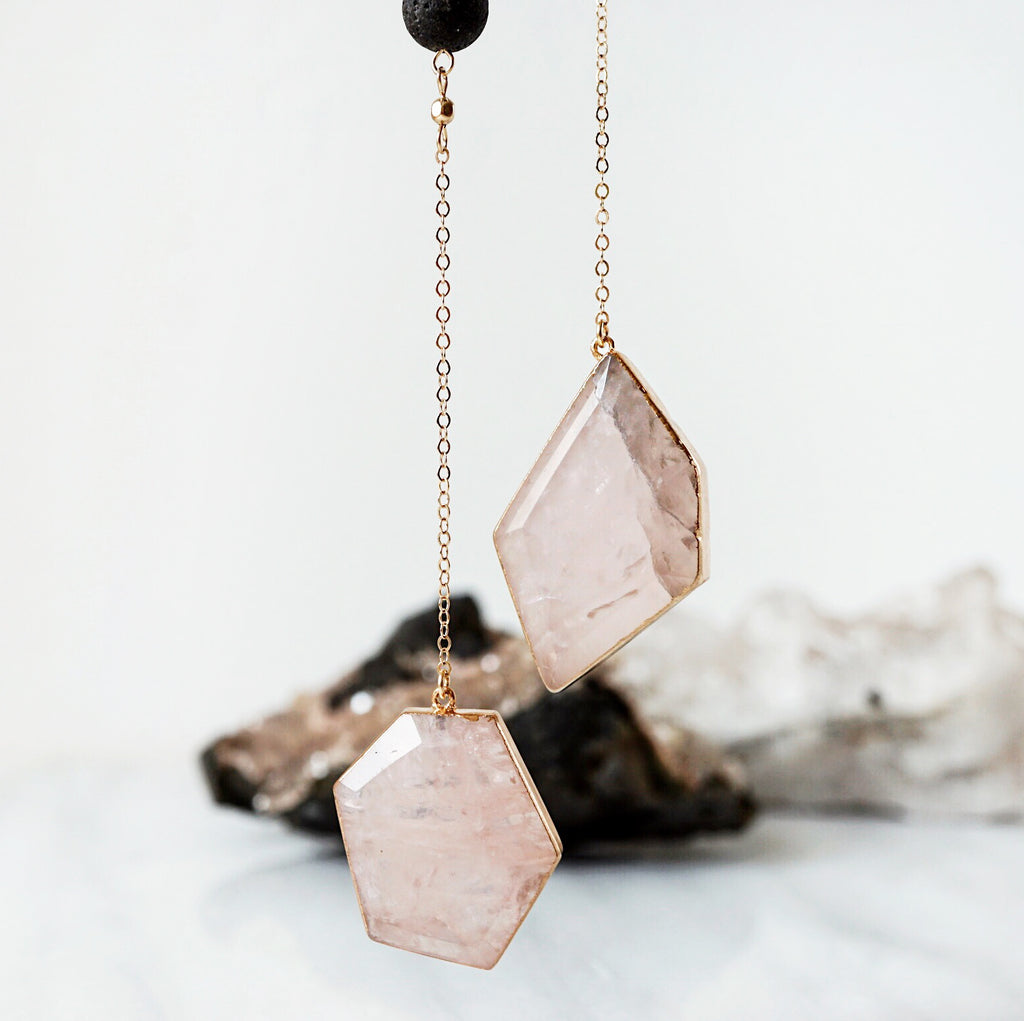 Rose Quartz Crystal Gold Aromatherapy Necklace - Lava Essential Oils