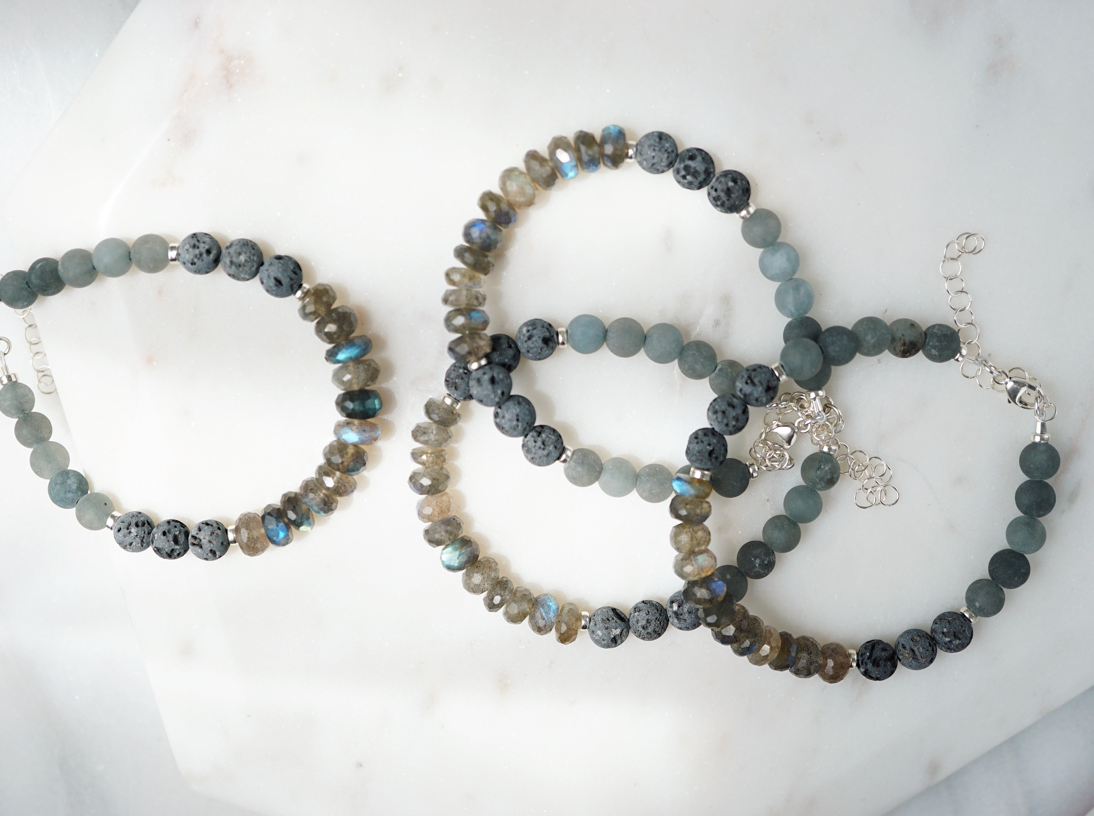 Faceted Labradorite, Jade, Lava Sterling Silver Aromatherapy Bracelet