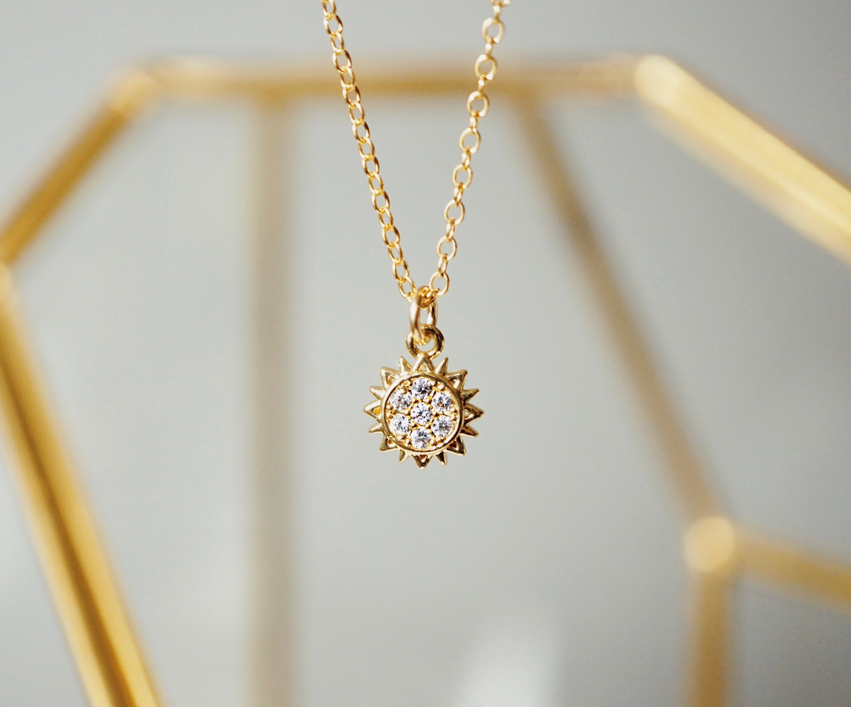 SUNRISE ✶ Celestial Collection ✶ Dainty Sun Necklace + Lava Charm