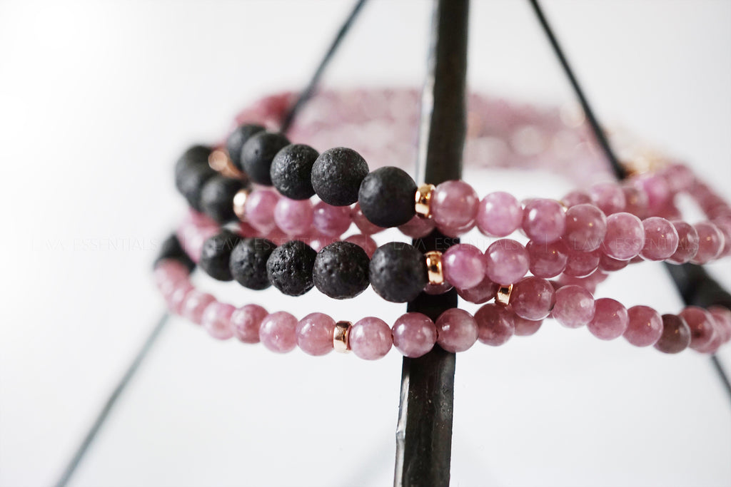Essential Oil Diffuser Bracelet with Lepidolite & Lava Beads Oil Bracelet