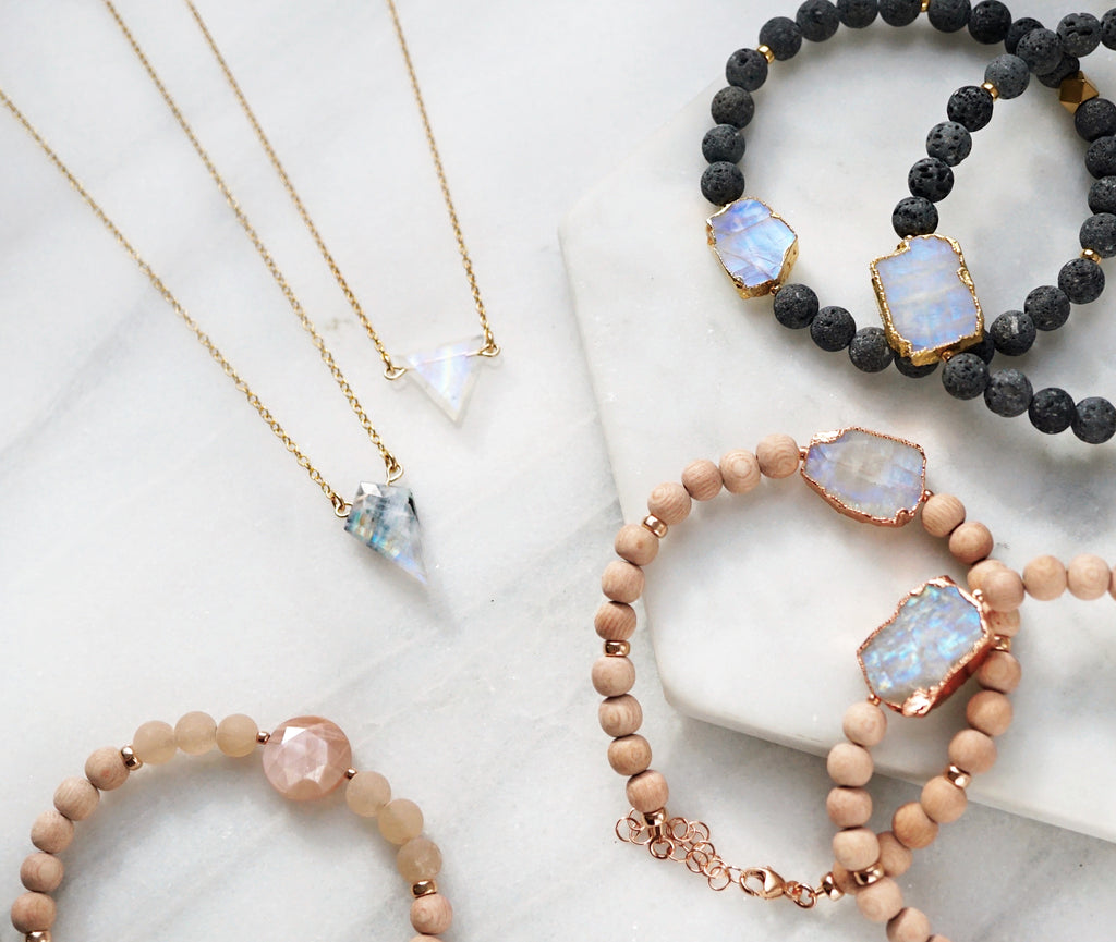 Petite Rainbow Moonstone Diamond Necklace, Natural Lava Extender [G]+[S] - Lava Essential Oils