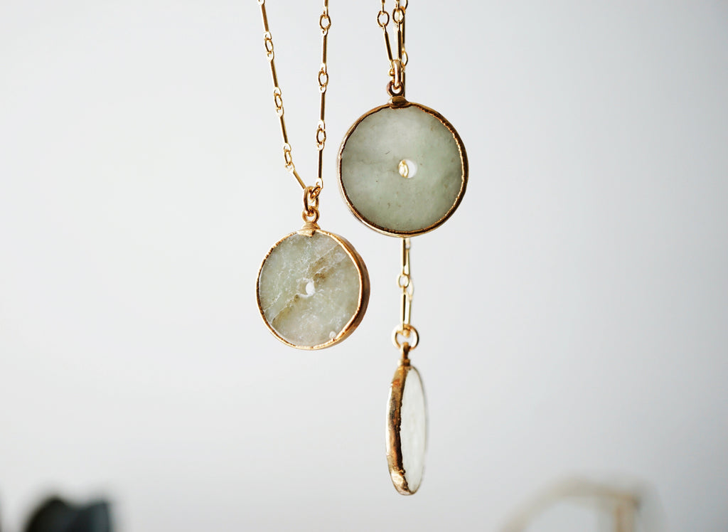 Serpentine Disk Pendant Gold Aromatherapy Necklace - LMTD Edition - Lava Essential Oils
