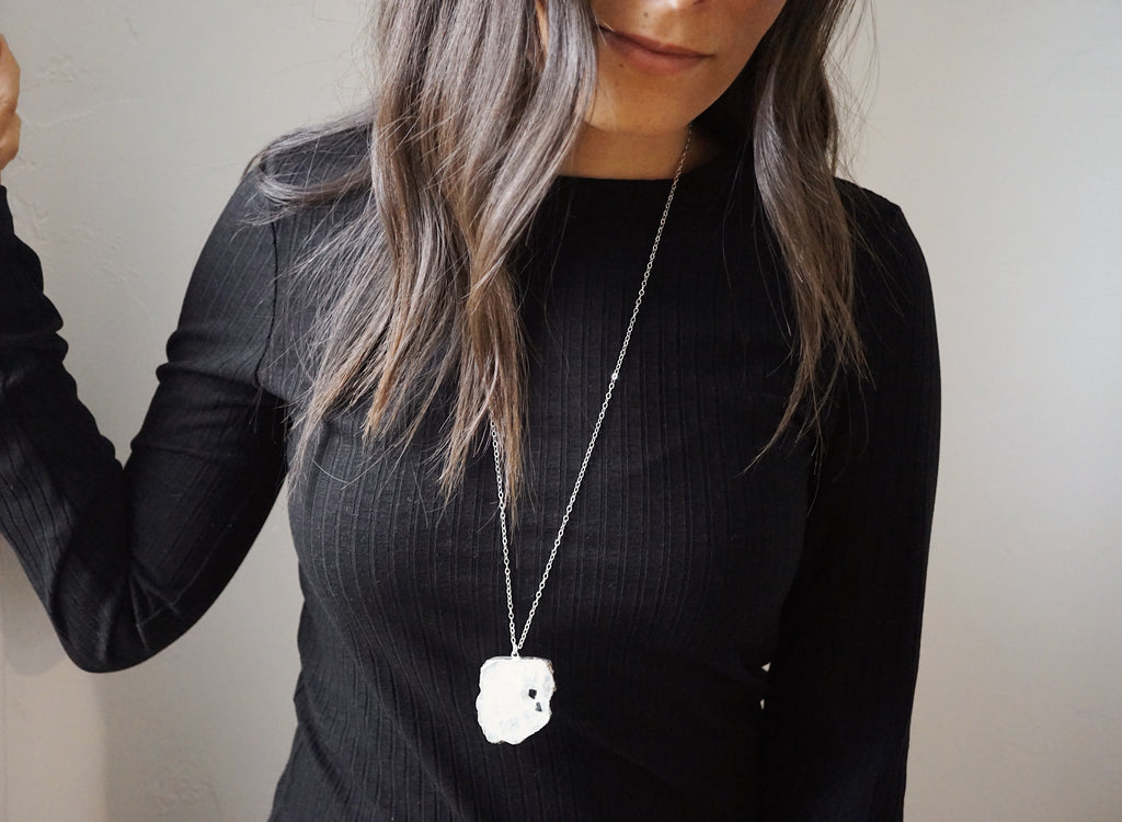 HOLIDAY COLLECTION • Silver Electroplated Raw Moonstone Aromatherapy Necklace