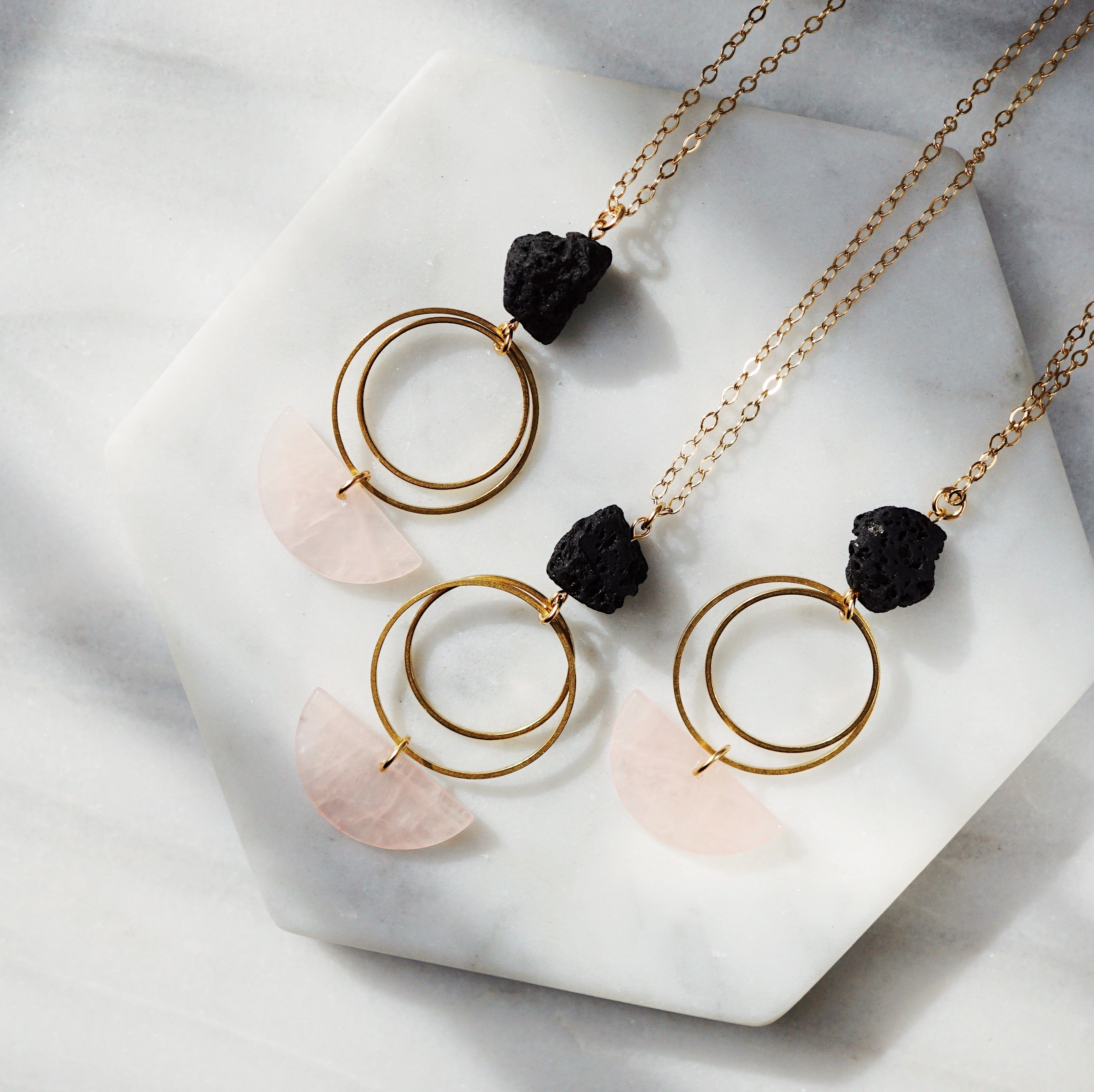 HALF MOON COLLECTION ◖Rose Quartz Aromatherapy Lava Necklace [G] - Lava Essential Oils