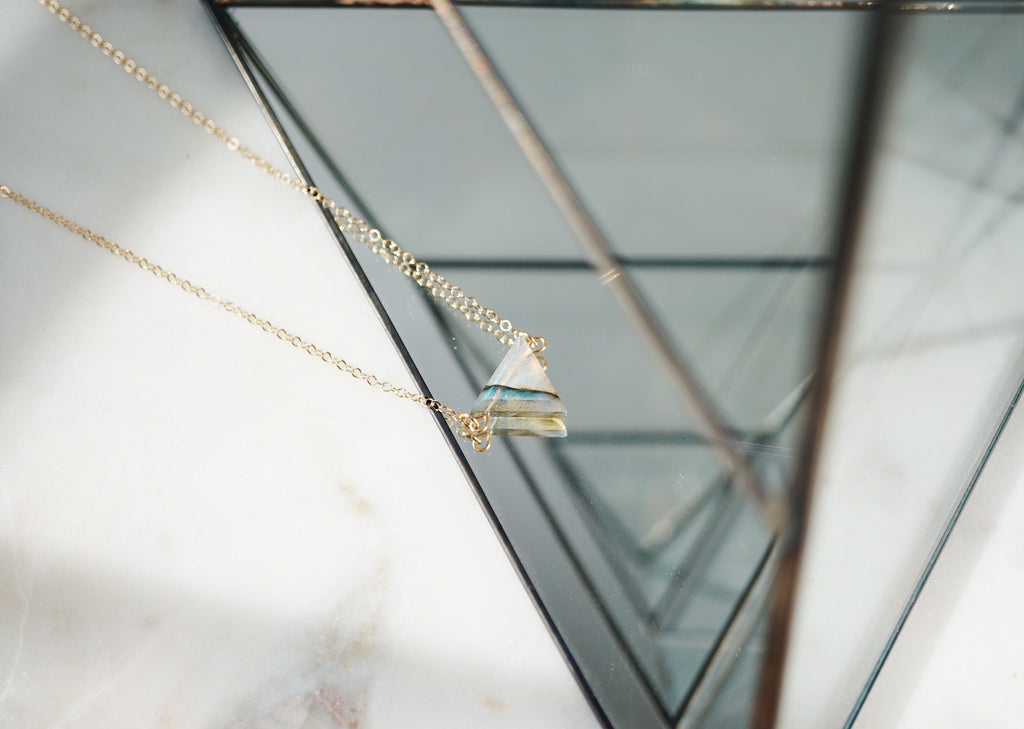 Petite Labradorite Triangle Necklace, Natural Lava Extender [G]+[S]