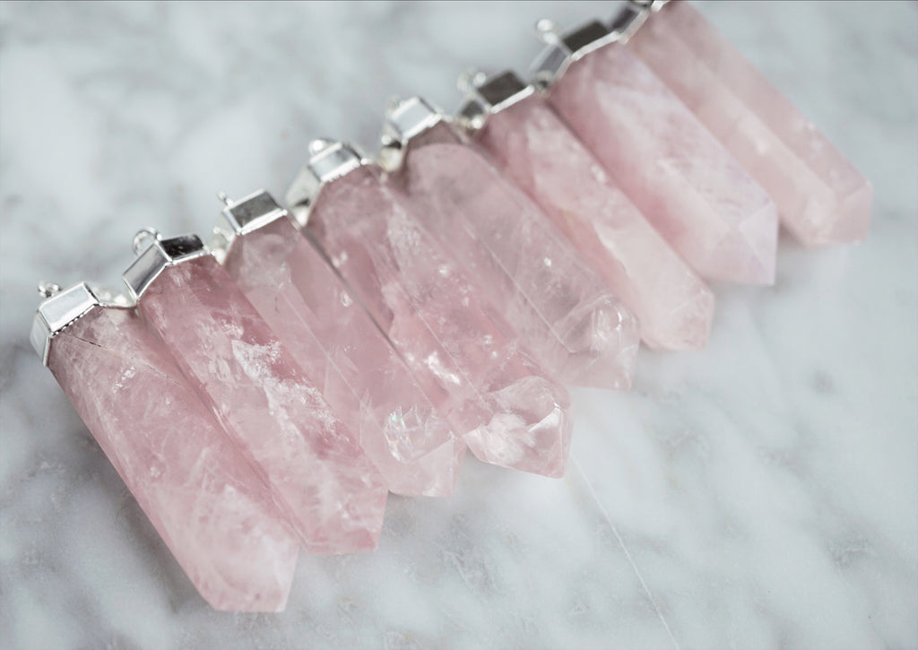 Rose Quartz Point Aromatherapy Necklace - Gold or Silver - Lava Essential Oils