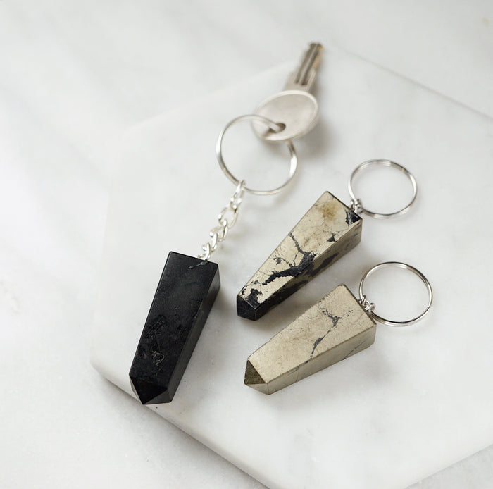 EMF Collection ☼ Black Tourmaline or Pyrite Keychain - Lava Essential Oils