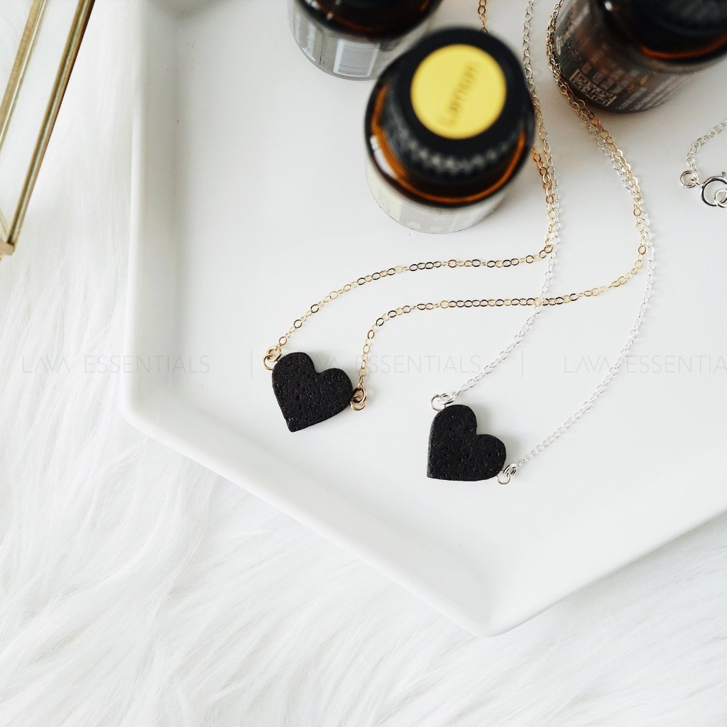 black heart lava essential oil diffuser necklace, aromatherapy necklaces