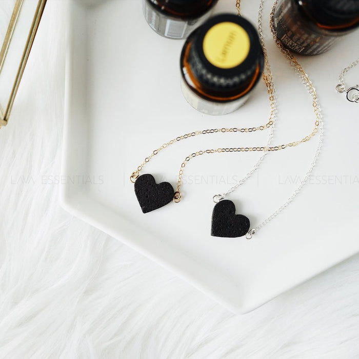 Dainty Lava Heart Minimalist Essential Oil Diffuser Necklace [G]+[S] - Lava Essential Oils
