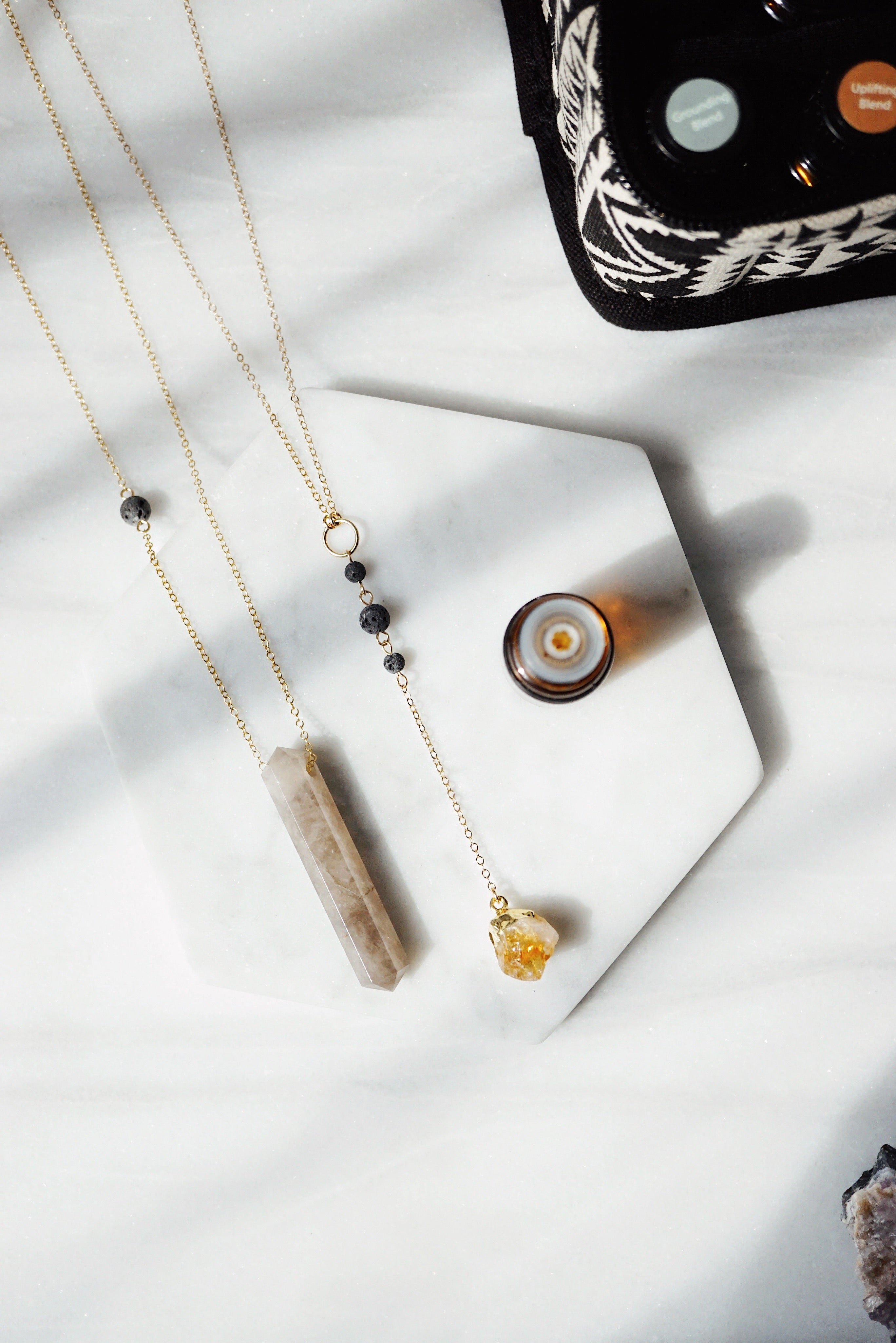 Dainty Citrine Nugget & Lava Bead Gold Necklace [G] - Lava Essential Oils