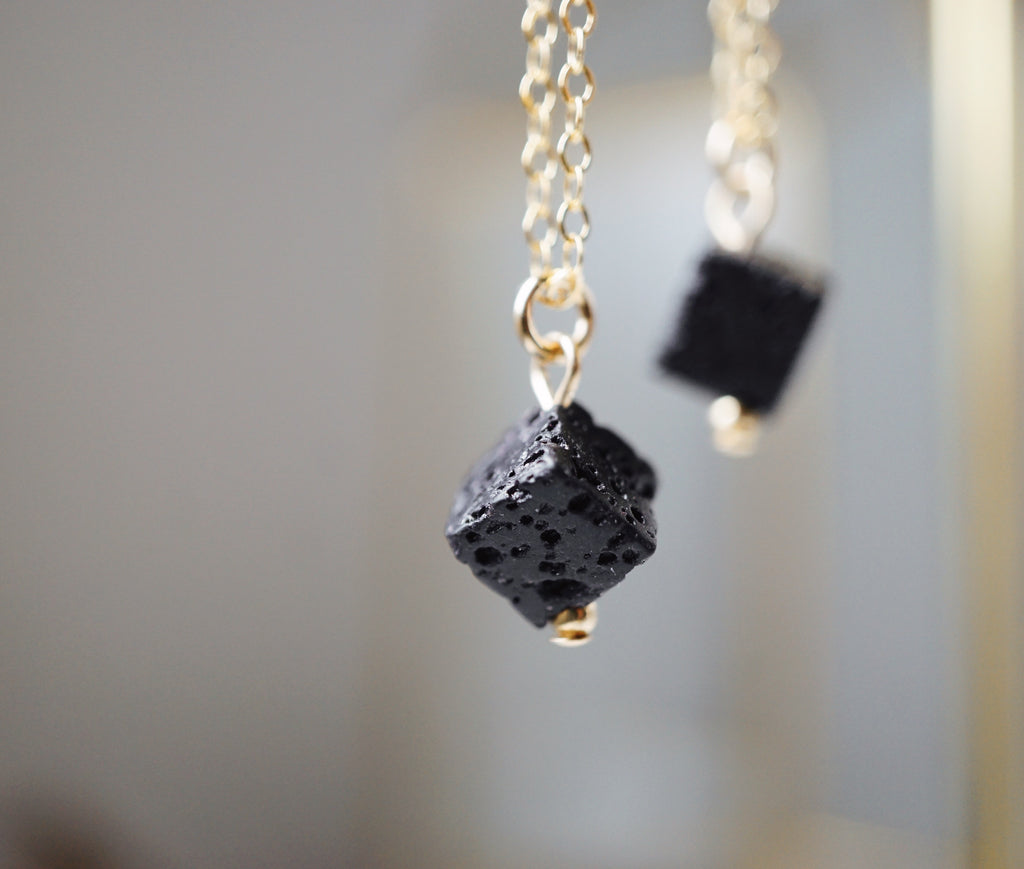 Dainty Lava Cube Aromatherapy Necklace [G]+[S] - Lava Essential Oils