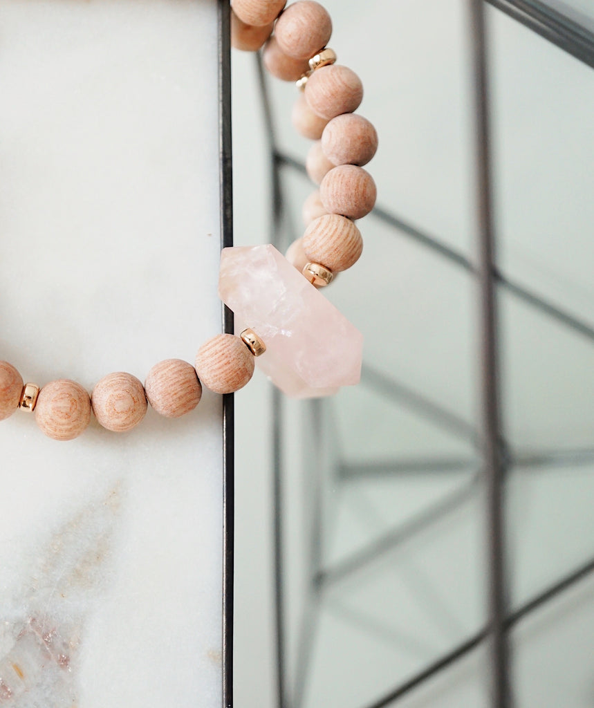 Rose Quartz Crystal + Rosewood Aromatherapy Bracelet ▾ One of a Kind [RG] - Lava Essential Oils
