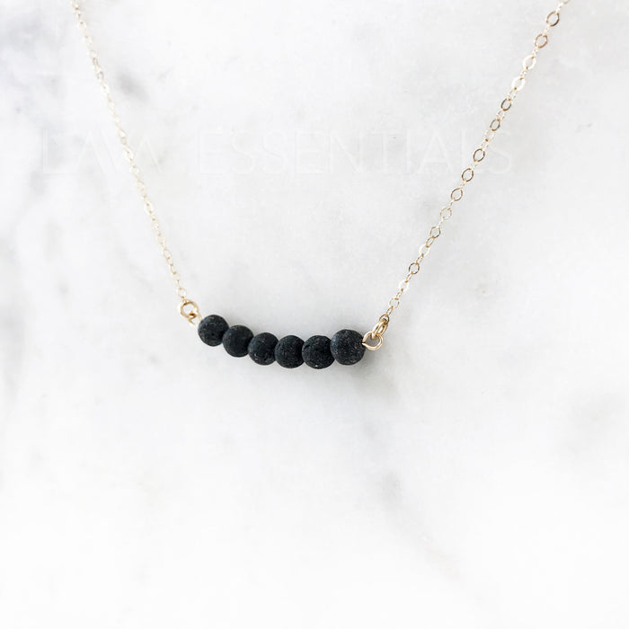 Dainty 6 Lava Bead Bar Minimalist Essential Oil Diffuser Necklace [G] - Lava Essential Oils