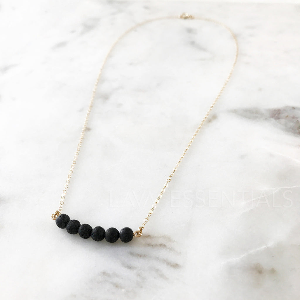 Dainty 6 Lava Bead Bar Minimalist Essential Oil Diffuser Necklace - Lava Essential Oils