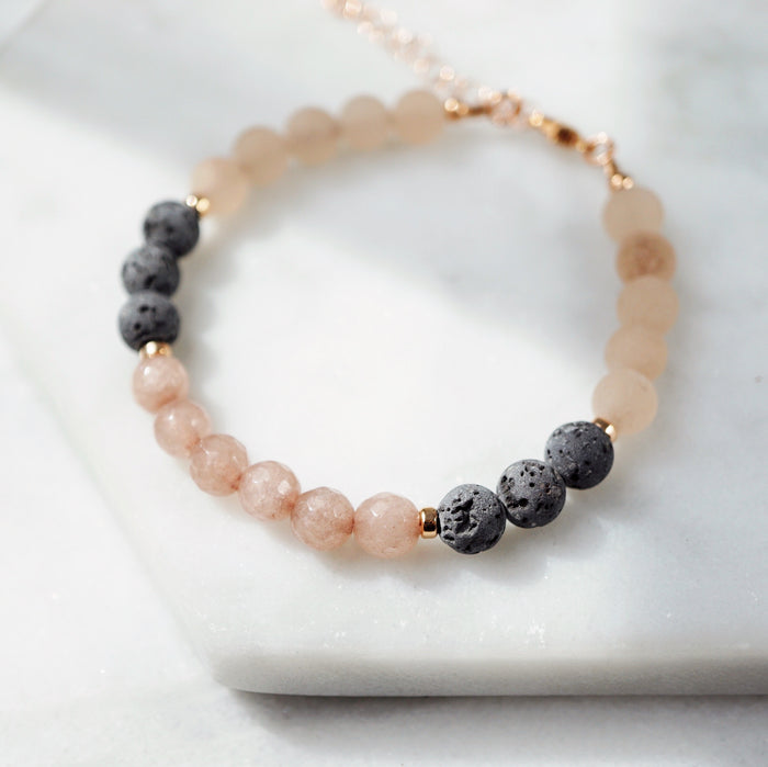 LUX Dainty Lava Bracelet ▾ Rose Gold, Jade - ONE OF A KIND - Lava Essential Oils