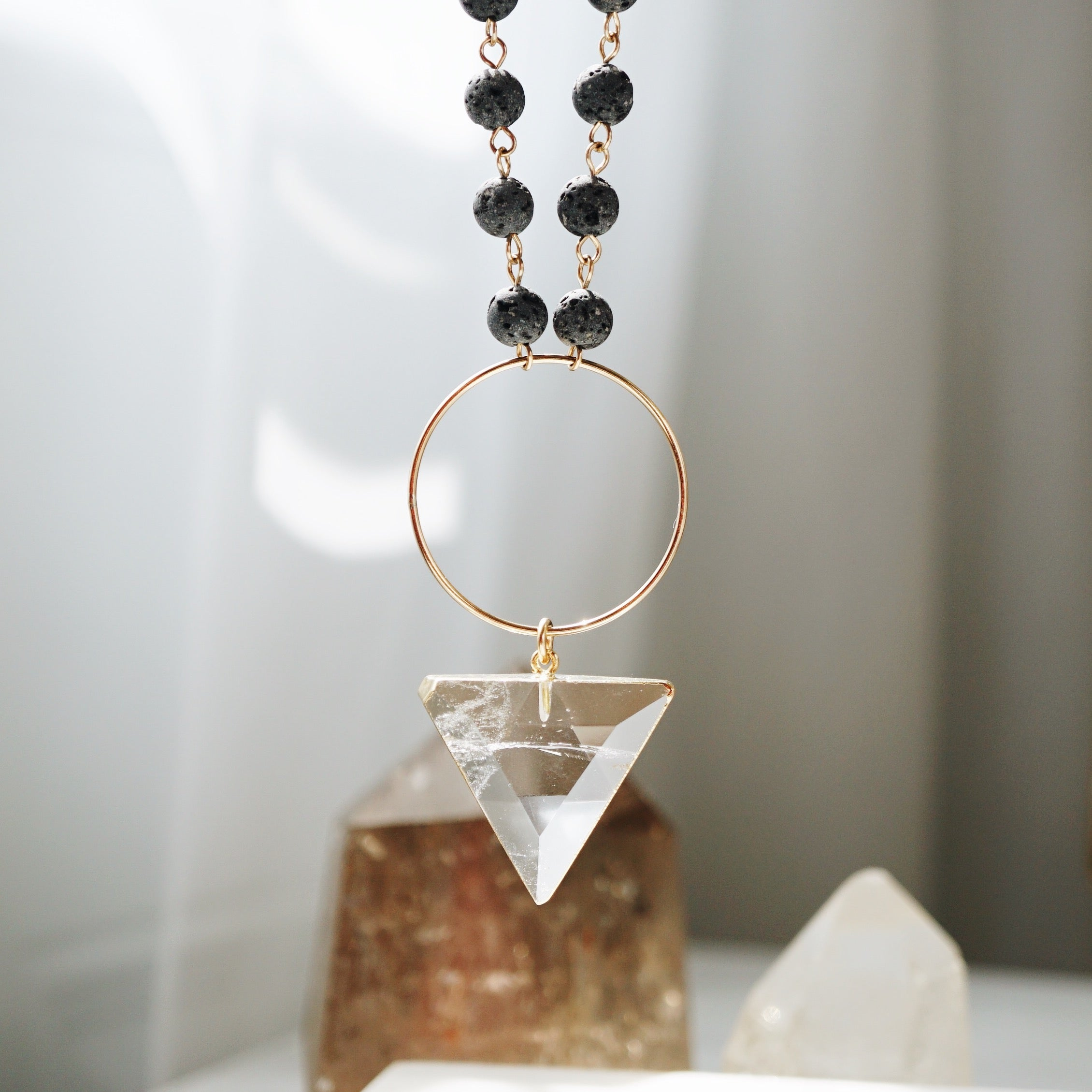 Triangle Quartz Crystal Aromatherapy Lava Necklace - One of a Kind - Lava Essential Oils