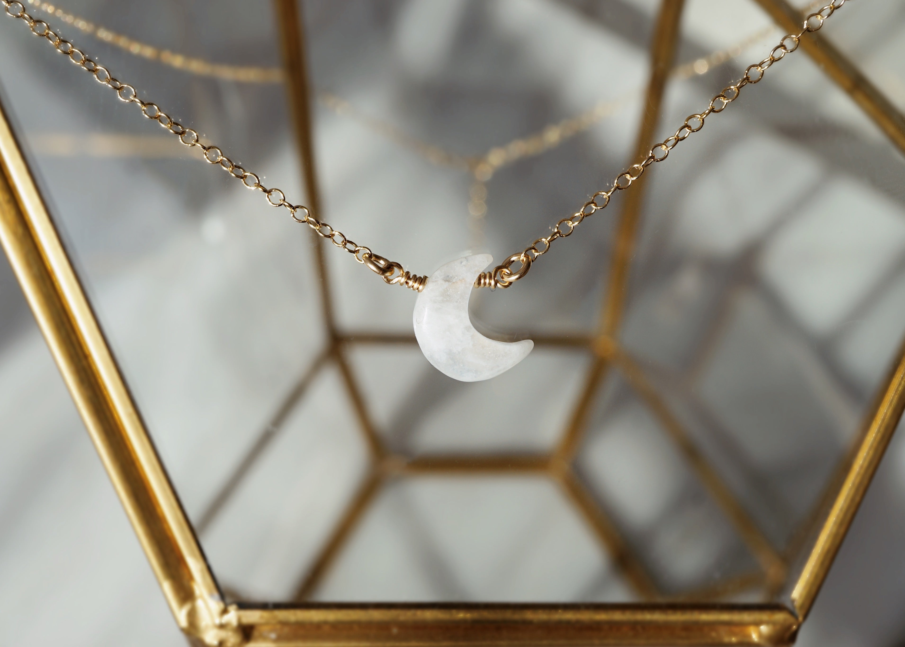 LUNA ✶ Celestial Collection ✶ Dainty Rainbow Moonstone Crescent Moon Necklace + Lava Charm