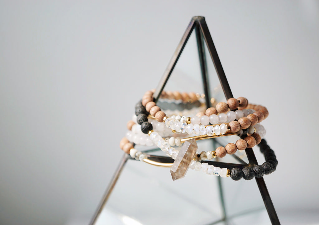 Faceted Rainbow Moonstone + Raw Rosewood Aromatherapy Rose Gold Bracelet - Lava Essential Oils