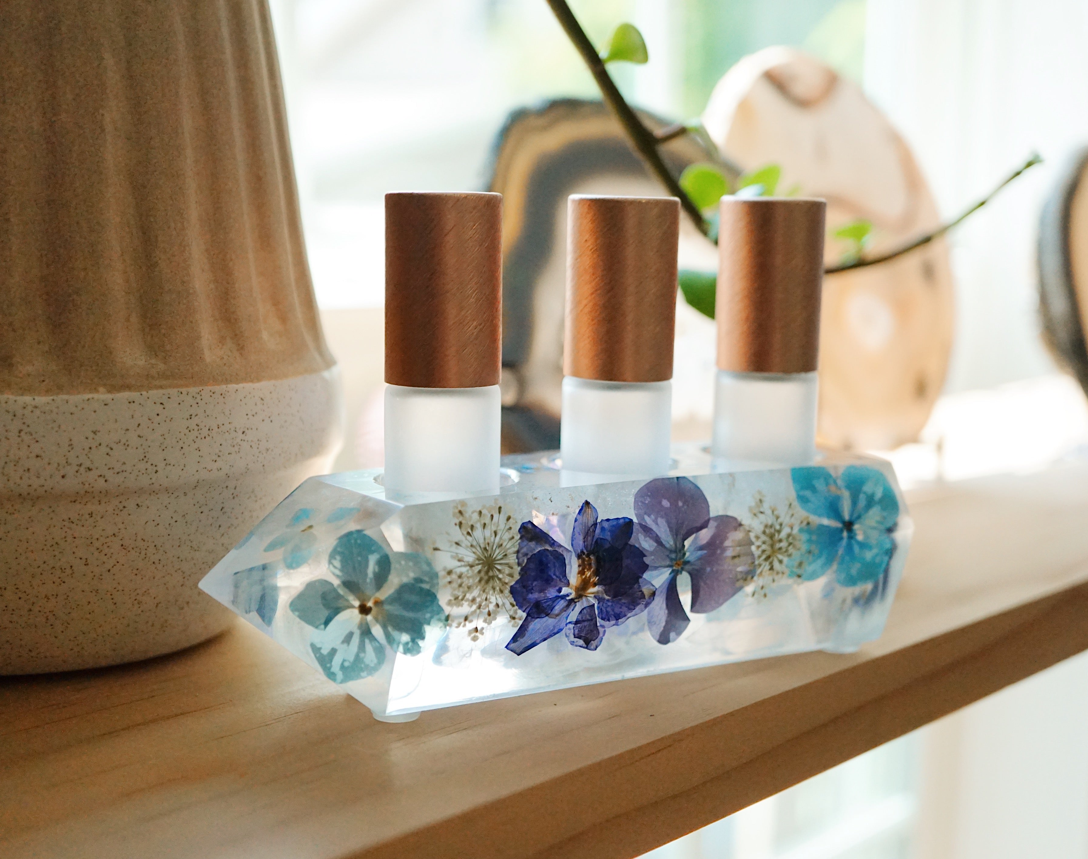 One-of-a-kind Floral + Quartz Crystal Point Essential Oil Holders  (031)