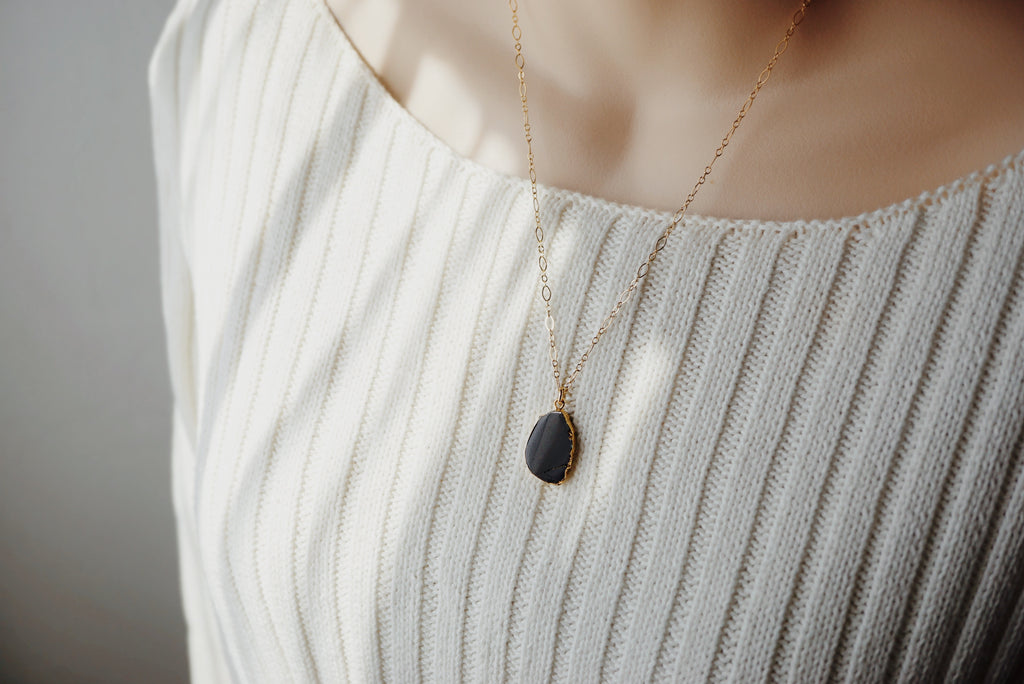 EMF Collection ☼ Gold Electroplated Black Tourmaline & Lava Necklace [G] - Lava Essential Oils