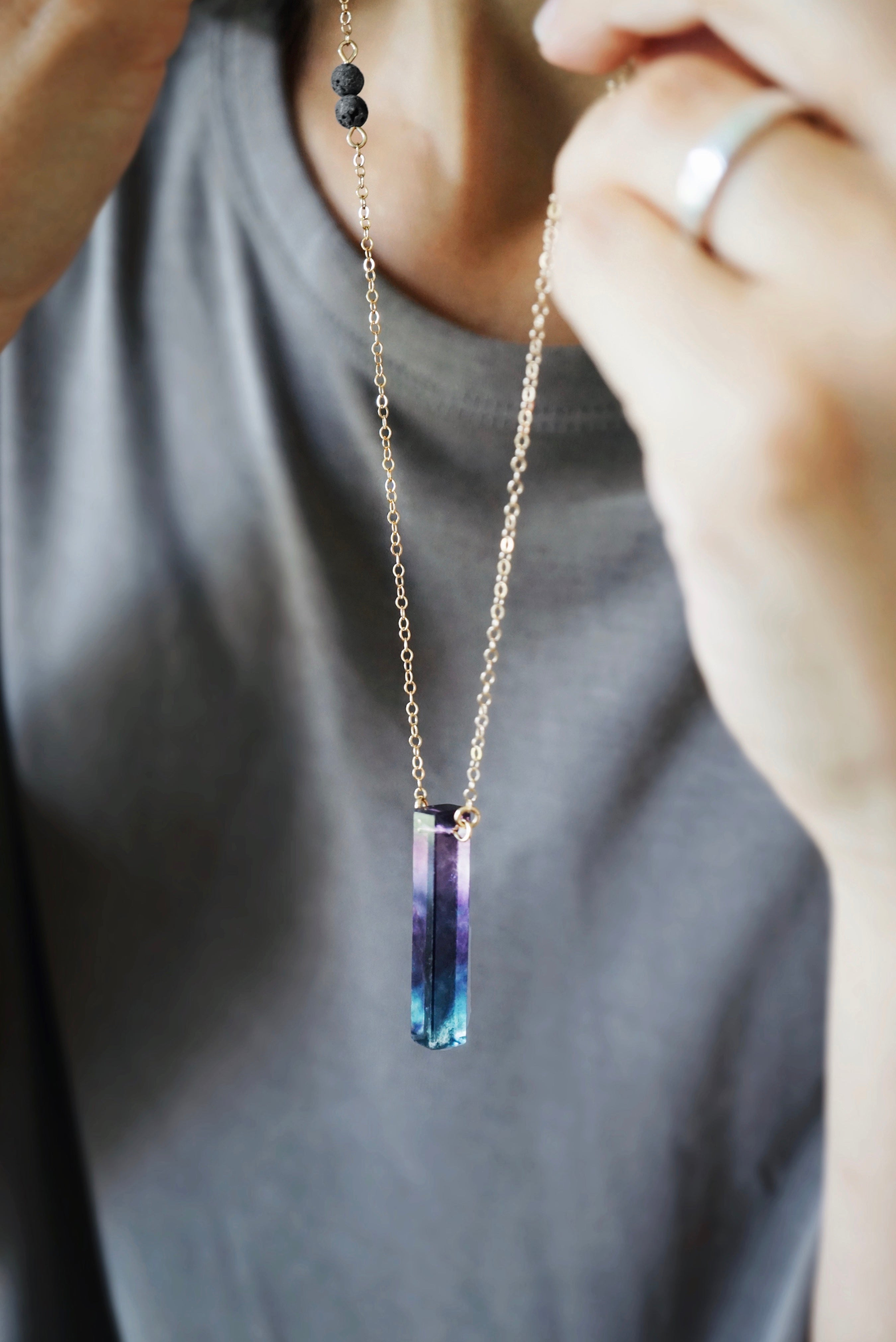 LAST CHANCE! Rainbow Fluorite Bar Aromatherapy Necklace [G]+[S]+[RG] - Lava Essential Oils