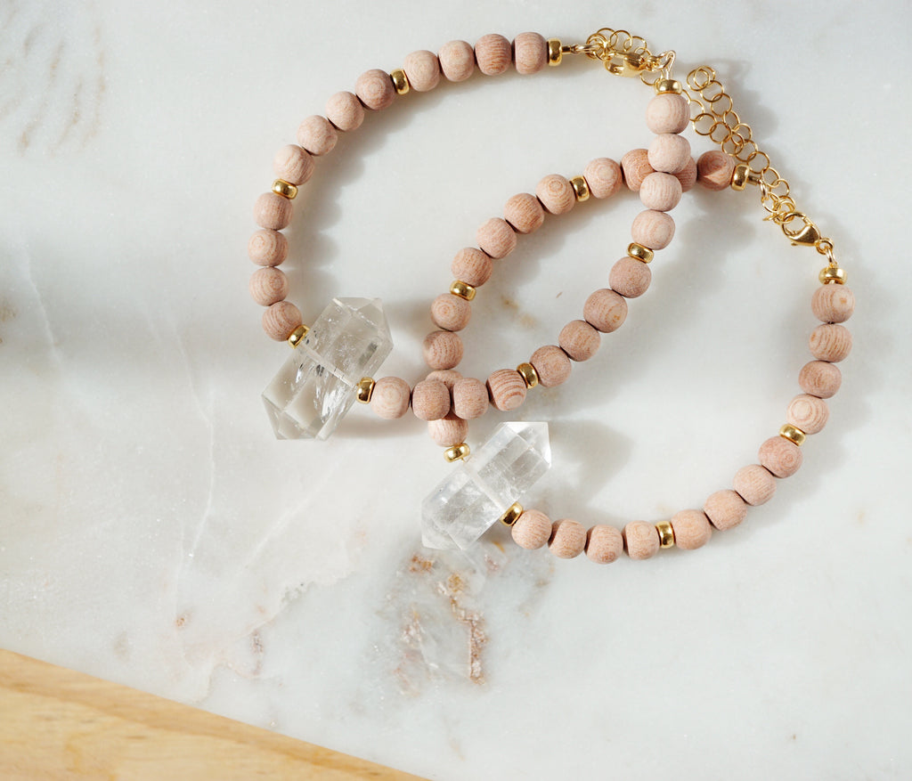 Crystal + Rosewood Aromatherapy Bracelet ▾ Lmtd Edition [RG] - Lava Essential Oils