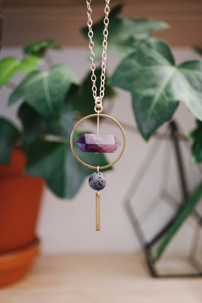 ONE OF A KIND ◖Amethyst Aromatherapy Lava Necklace [G] - Lava Essential Oils