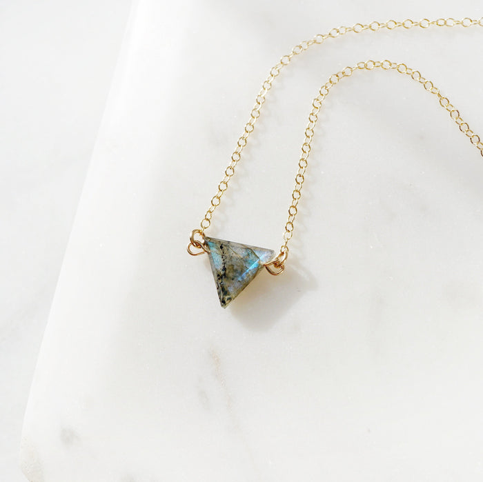 labradorite triangle, blue glow, green stone, triangle crystal gemstone, minimal necklace, essential oil necklace, lava necklace