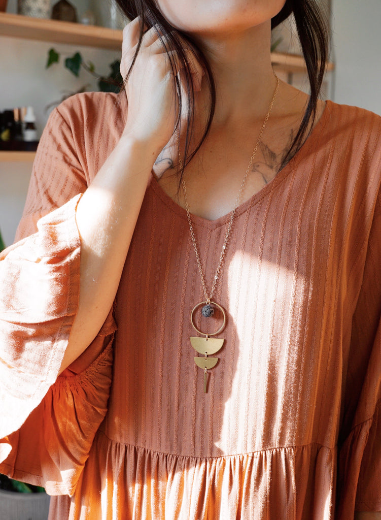 HALF MOON COLLECTION ◖Brass Aromatherapy Lava Necklace [G] - Lava Essential Oils