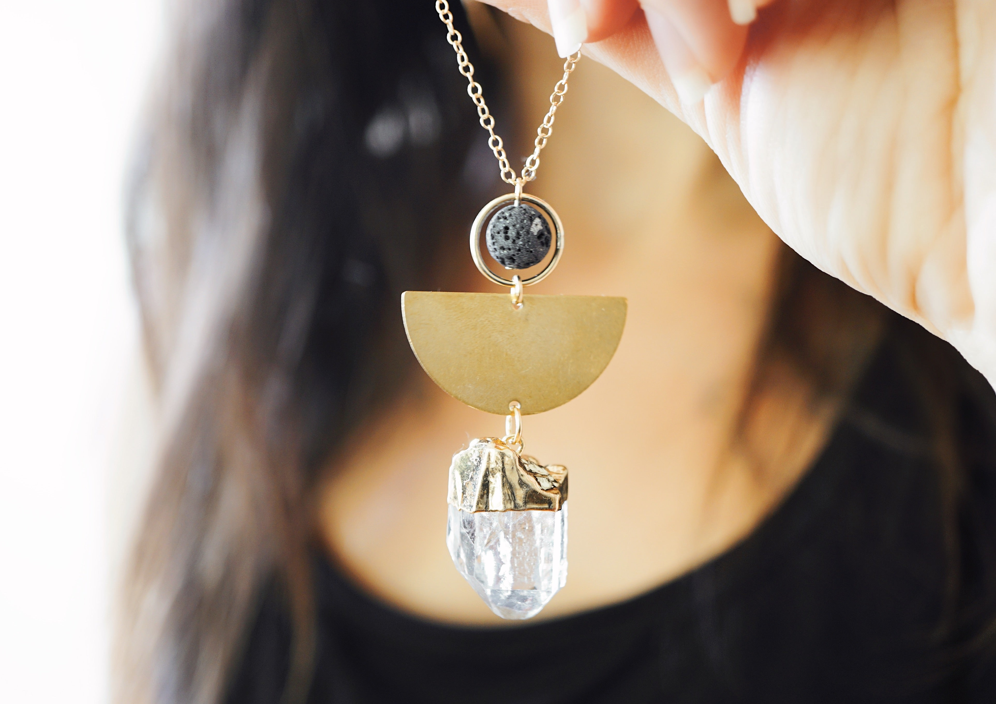Half Moon Crystal Aromatherapy Necklace - Clear Quartz - ONE OF A KIND - Lava Essential Oils