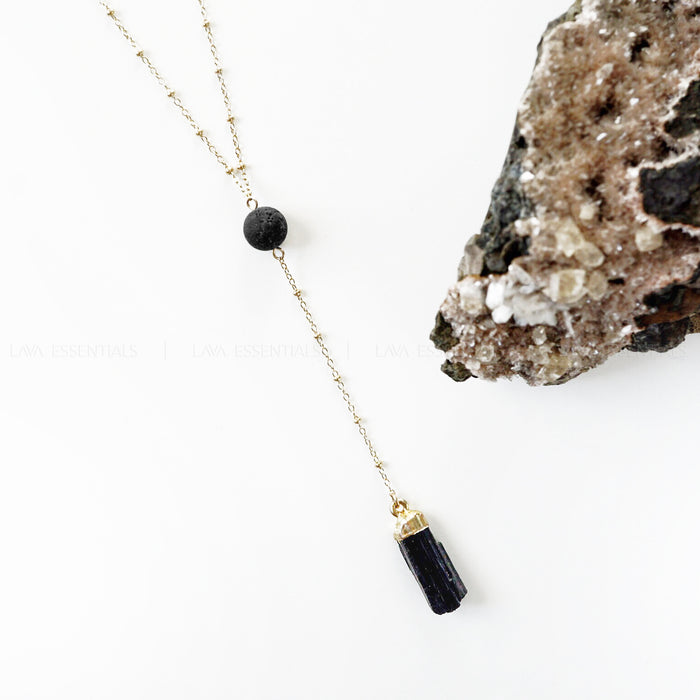 Black Tourmaline & Lava Stone Aromatherapy Necklace - Lava Essential Oils