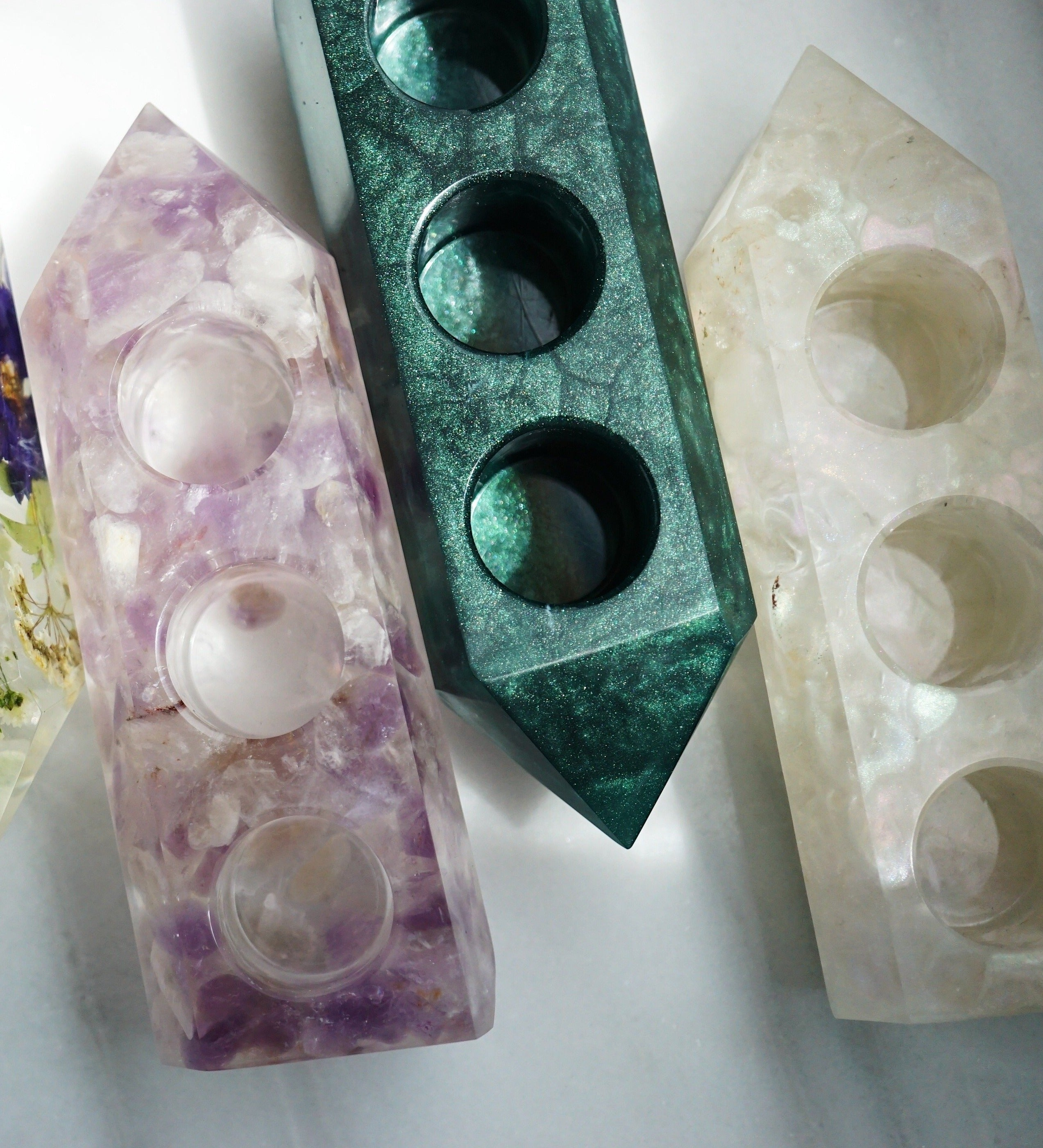 One-of-a-kind Crystal Point Essential Oil Holders with Quartz Crystals  • Inspired by Rainbow Moonstone (016)