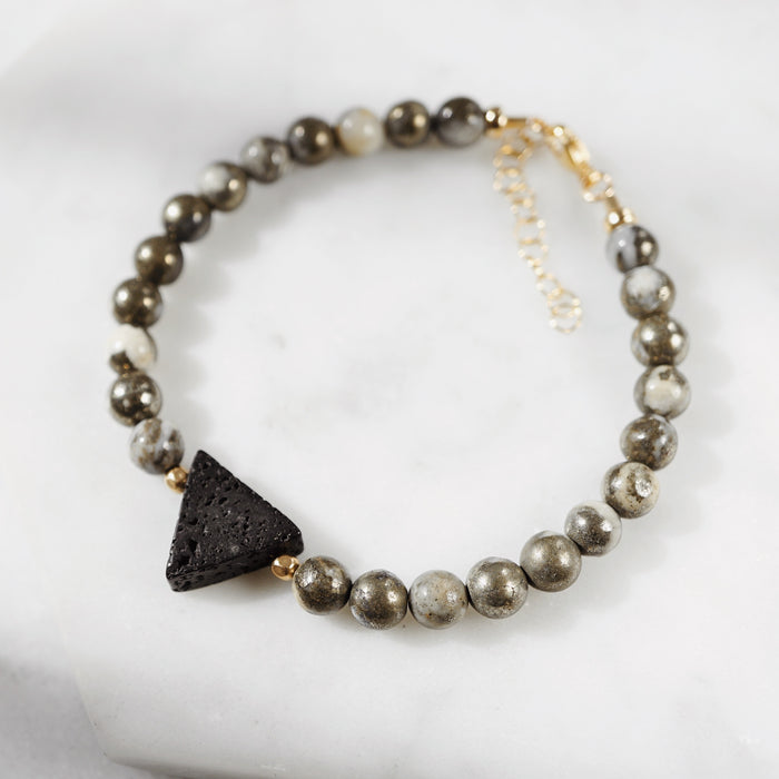EMF Collection ☼ Lava Triangle & Pyrite Aromatherapy Bracelet [G] - Lava Essential Oils