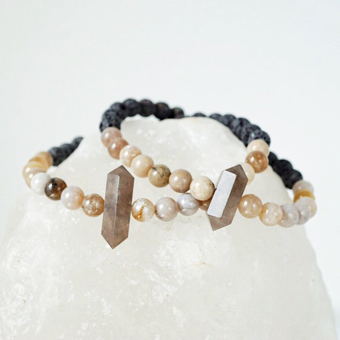 Smoky Quartz + Ocean Fossil Agate + Natural Lava Essential Oil Diffuser Bracelet - Lava Essential Oils