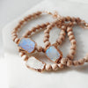 Rose Electroplated Rainbow Moonstone + Raw Rosewood Aromatherapy Bracelet - Lava Essential Oils