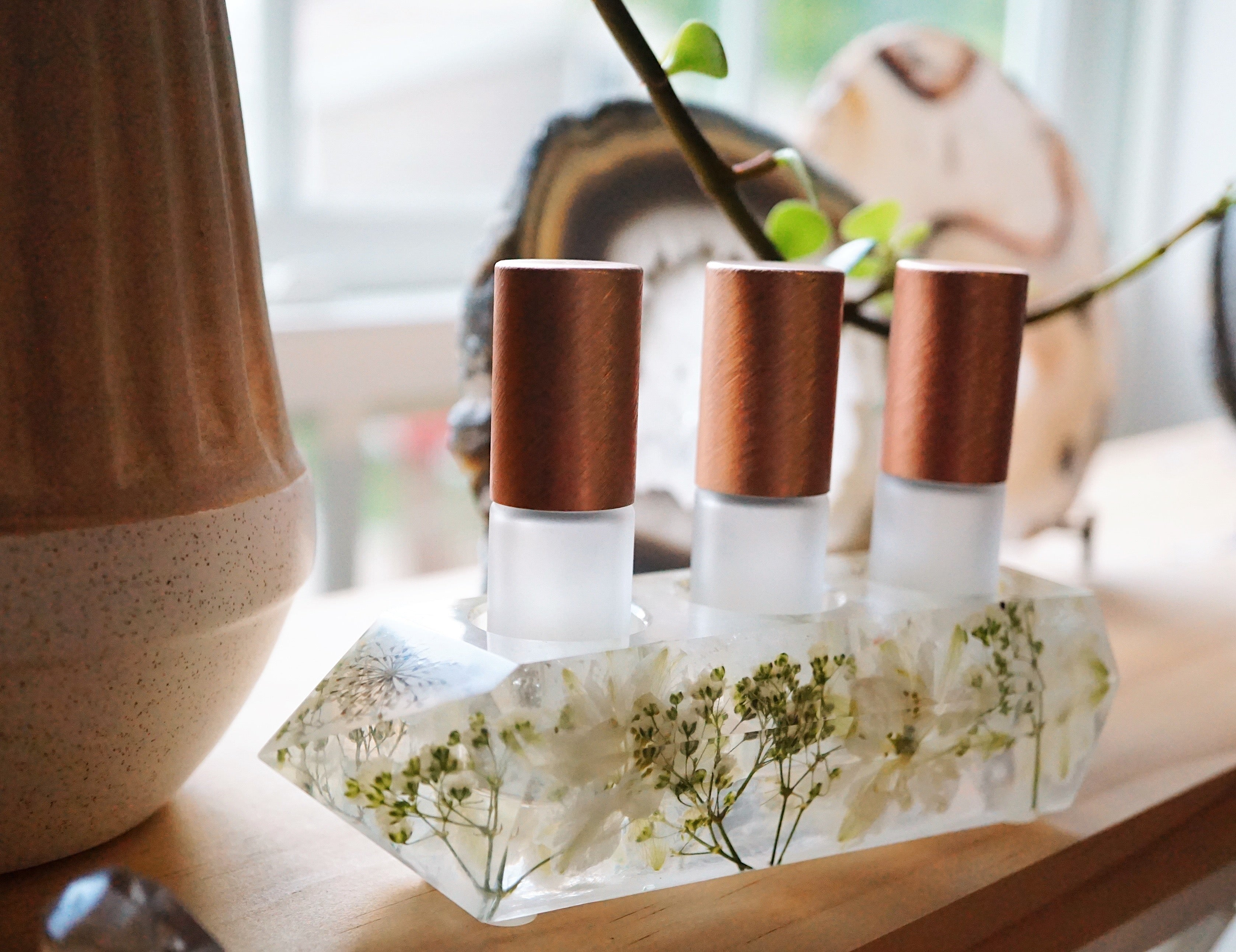 One-of-a-kind Floral + Quartz Crystal Point Essential Oil Holders  (032)